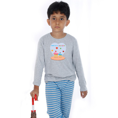 Grey Full Sleeve Boys Pyjama - Cupcake